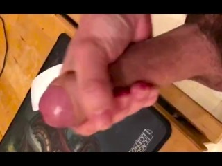 Stroking my Hard Cock and Sticky Cum at home