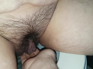 I cum while peeing and CB plays with my pussy and tastes my pee