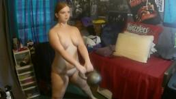 Naked Workout ~ A Velvet Short ~ 30lb Kettlebell Swings