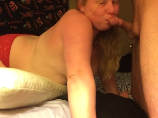 SEXY BLONDE GF SUCKING/DEEP THROATING MY BIG COCK IN RED BOOTY SHORTS 2017
