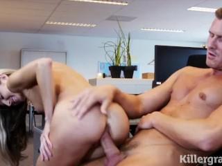 Killergram Tiny hot babe Gina Gerson seduces her well hung boss