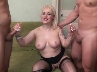 Chubby Escort With Huge Tits Gets Hard Anal And Throat Fuck By Two Dicks