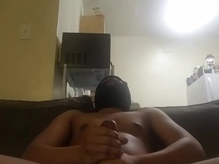 Jerking bbc for big cum shot while smoking!