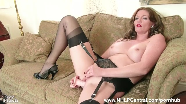 Nylon tricot lingerie for him - Redhead milf masturbates in vintage lingerie nylons in kinky dildo session