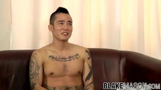 Hot Asian punk Yoshi Kawasaki rubs his meaty rocket
