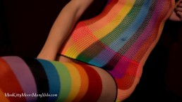 Rainbow Fishnet Close Up SAMPLE - MissKittyMoon.ManyVids.com