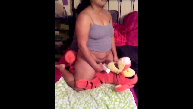 Fat black strap anal Milf humping stuffed toy teddy bear and his studded black dragon cock