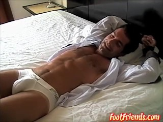 Hot jock with sweet but enjoys while boss platy with his feet
