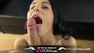 Lexidona Brunette pornstar sucks her cameraman in home made pov movie