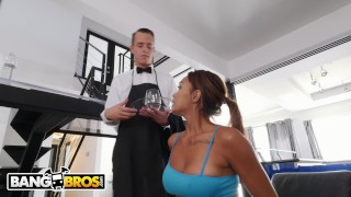 BANGBROS - Young Ebony Pornstar Makes Her Butler's Day By Fucking Him Cocks gang