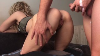 Blonde College Teen gets Morning Deep Fuck in ASS ( ANAL CREAMPIE POV )