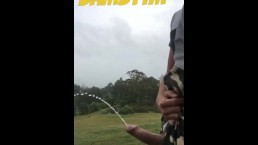 Aussie Pissing Outdoors While Rock Hard