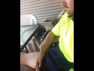 Aussie Tradie Soft Piss On Smoke Break
