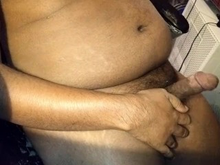 Indian guy jerking off, multi cum