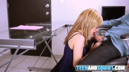 Blonde secretary with glasses blowjob until I cum on her face in the office