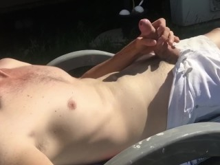 Aussie Pisses All Over Himself Sunbaking Outside