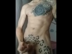 Sexy abs uncut solo cumshot