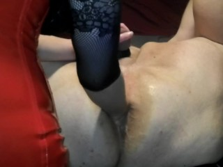 Anal Fisting Male Slave on Back Femdom