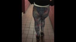 See through design tights in public blue panties