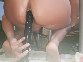 Fuking my hungry ass with long dildo