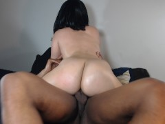 Riding my step son's big black cock, love when he fucks my big white ass!