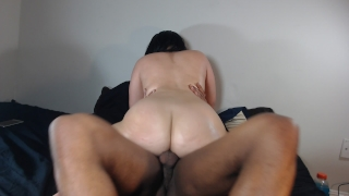 Riding my BF's big black cock, loves when he fucks my round ass! Public public