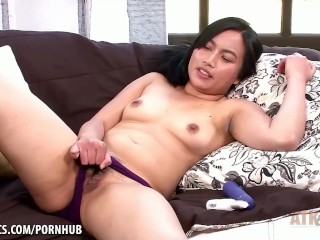 Hairy Asian opens up before her opens up her slit.