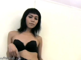 Beautiful ladyboy strips down sexy dress and black lingerie