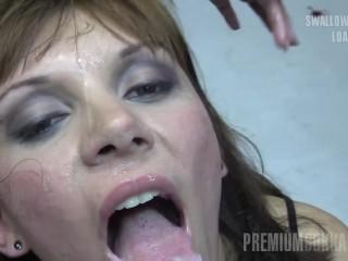 Premium Bukkake - Michelle swallows 83 huge mouthful cumshots
