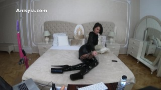 Anisyia Jasmin latex fetish dress and extreme high heels boots huge toy