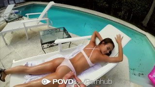 Crawford charity povd fuck skinny dipping backyard brunette with facial bikini