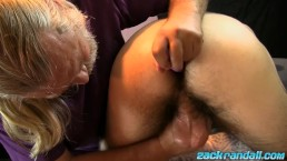 Old JS Wild massaging and sucking off Jeremy Cox big dick
