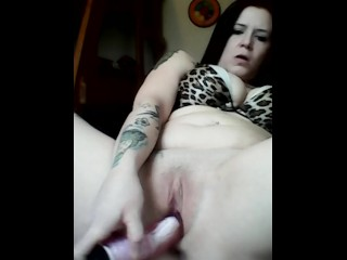 Playing with my pussy using pink vibrator