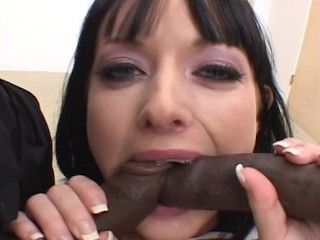 Melissa Lauren gets two big black dicks up he
