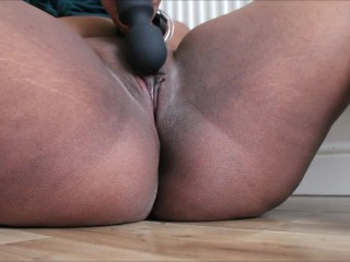 HD Tight Ebony Pussy Teasing & Orgasm With Wand | DenaliDinkLu