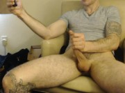 inked hung stud jerks on webcam