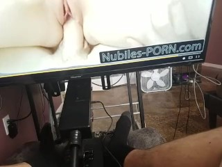 HARD COCK TRYS OUT SEX MACHINE WITH PUSSY ATTACHMENT