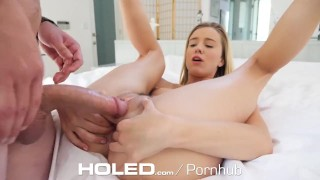 HOLED Small breasted Haley Reed toying asshole before anal pounding Blowjob shaved