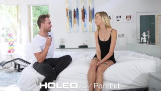 HOLED Small breasted Haley Reed toying asshole before anal pounding Shaved dildo
