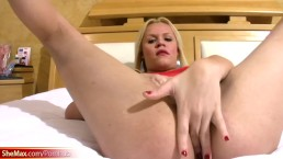 Beautiful blonde t-girl plays with natural tits and huge ass