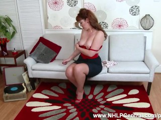 Preview 1 of Redhead Zoe Page peels off retro red lingerie to tease pert tits wet pussy