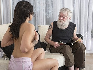 Old Young Sexy Teen Porn Fucked By The Old Man On The Couch She Rides His Dick