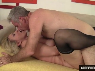 Blonde Mature Cala Craves Sucks A Thick Cock And Takes It In Her Pussy