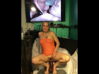 riding barney my 16 inch dildo