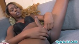 Solo black tgirl tugging her big hard dick