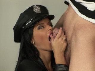 Hot brunette guardian fucks with the prisoner