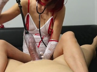 Polish Redhead Nurs pump and jekrk off patient dick! All cum swallow