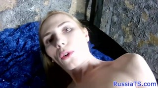 Russian trans amateur stroking her hard cock Toys lingerie