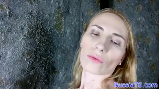 Russian trans amateur stroking her hard cock Solo jerking