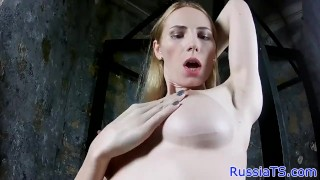 Trans russian hard cock her amateur stroking manicure trans